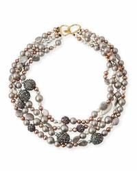 Alexis Bittar Three Strand Pearly Bead Pav Sphere Bib Necklace