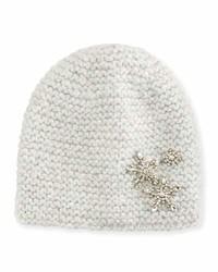 Jennifer Behr Metallic Snowflake Beanie Hat Snow Sparkle