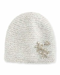 Jennifer Behr Metallic Snowflake Beanie Hat Snow Sparkle