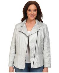 DKNY Jeans Plus Size Coated Twill Biker Jacket