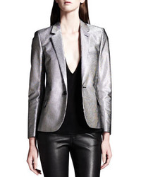 Saint Laurent Silver Single Button Blazer