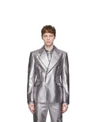 Comme Des Garcons Homme Plus Silver Lame Blazer