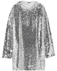MSGM Sequined Tulle Hooded Top Silver