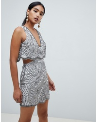 ASOS DESIGN Heavily Embellished Mini Dress With Cut Out Waist