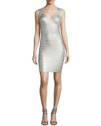 Herve Leger Iman Deep V Sleeveless Bandage Dress Silvercombo