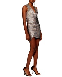 Topshop Metallic Wrap Dress