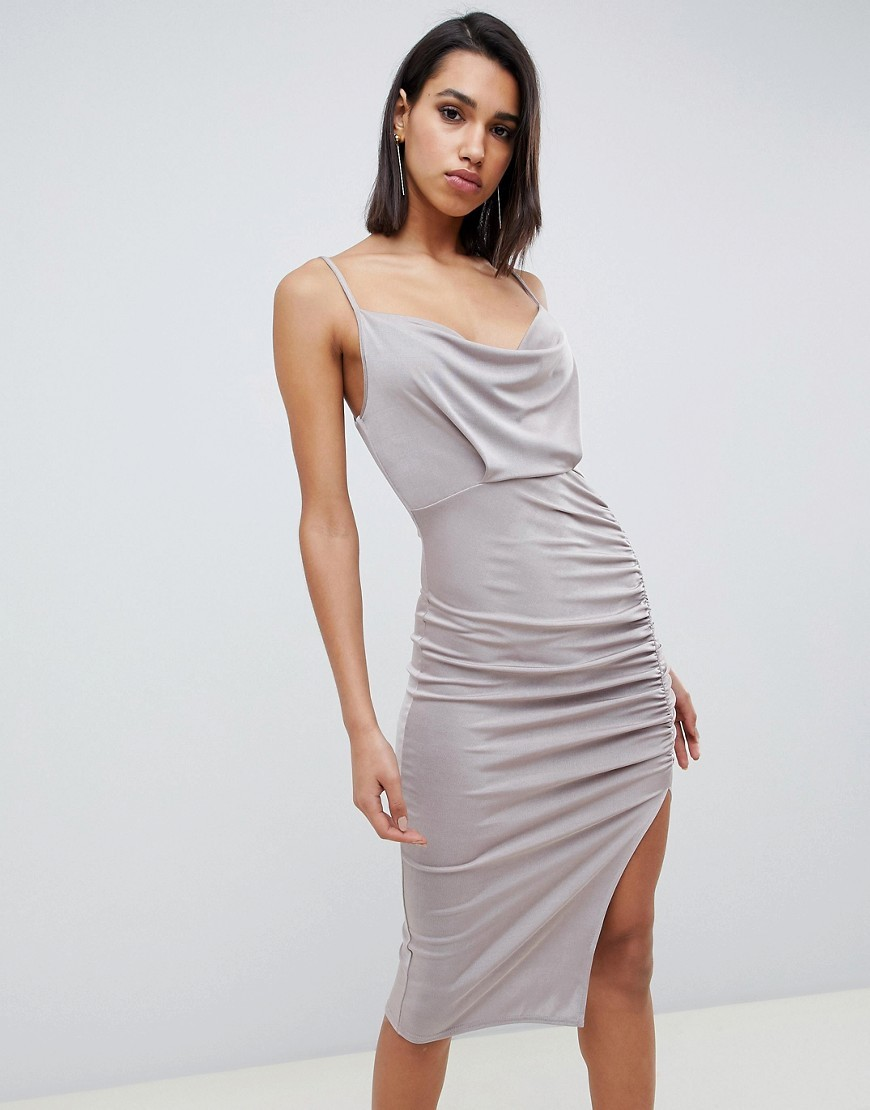 ASOS DESIGN Slinky Cowl Neck Ruched Midi Bodycon Dress