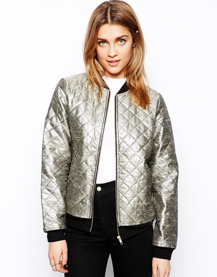 Only Gold Quilted Bomber Jacket Harvest Gold Where To Buy How To