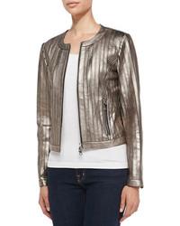 Bagatelle Pintuck Metallic Leather Jacket
