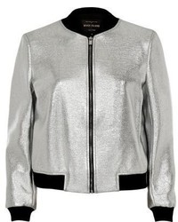 River Island Silver Bomber Jacket