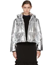Silver cropped metallic bomber jacket medium 5082217