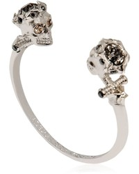 Alexander McQueen Twin Skull Brass Cuff Bracelet