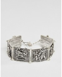 Asos Egyptian Bracelet In Burnished Silver