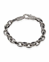 Konstantino Plato Sterling Silver Link Bracelet With Black Spinel