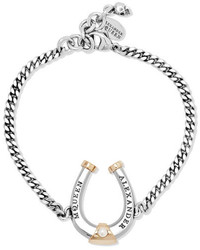 Alexander McQueen Ruthenium And Gold Plated Swarovski Pearl Bracelet Silver