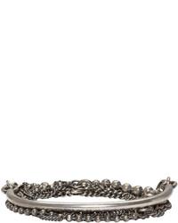 Ann Demeulemeester Silver Mixed Chain Bracelet