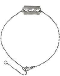 Saint Laurent Silver Razor Logo Bracelet