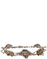 Alexander McQueen Silver Skull And Skeleton Bracelet