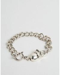 Reclaimed Vintage Skull Chain Bracelet In Silver