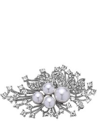 Nina Crystal Spray Crystal Faux Pearl Brooch