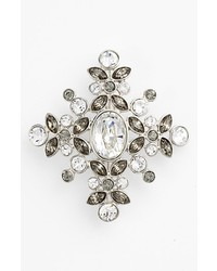 Givenchy Crystal Cluster Brooch Black Diamond Multi Silver