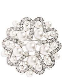 Nina Imitation Pearl Crystal Brooch