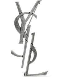 Saint Laurent Oxidized Silver Tone Brooches