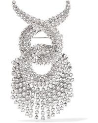 Balenciaga Palladium Tone Swarovski Crystal Brooch Silver