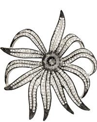 Kenneth Jay Lane Rhodium Plated Crystal Brooch