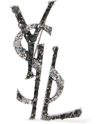 Saint Laurent Ruthenium Plated Crystal And Enamel Brooch Silver