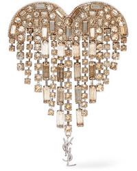 Saint Laurent Silver Plated Crystal Brooch