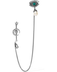 Alexander McQueen Silver Tone Swarovski Crystal And Pearl Brooch