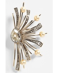 St. John Collection Crystal Glass Pearl Brooch