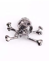 ChicNova Vintage Silver Tone Skull Bone Brooch