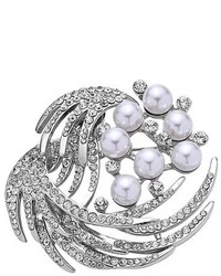 Nina Waxing Moon Crystal Faux Pearl Brooch