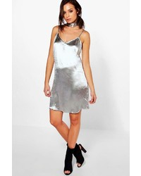 Boohoo Ava Tie Neck Satin Slip Dress