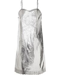 MM6 MAISON MARGIELA Metallic Lace Trimmed Coated Shell Dress