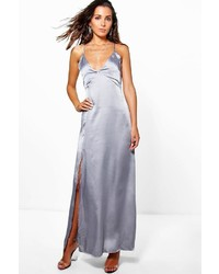 Boohoo Perrie Satin Strappy Seam Detail Slip Dress