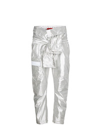 Ronald Van Der Kemp Silver Silk Cargo Trousers With Waist Tie