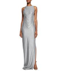 St. John Collection Asha Chevron Sequined Sleeveless Gown Gray Metallic