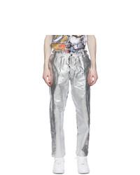 Comme Des Garcons Homme Plus Black And Silver Foil Trousers