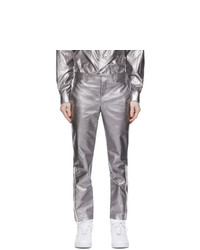 Comme Des Garcons Homme Plus Silver Lame Trousers