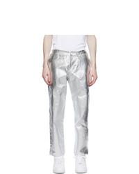 Comme Des Garcons Homme Plus White And Silver Foil Trousers