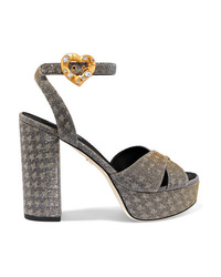 Dolce & Gabbana Embellished Lam Platform Sandals