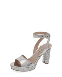 Miu Miu Glitter Platform Sandal