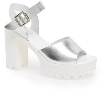 de449e3fe609 ... Silver Chunky Leather Heeled Sandals Topshop Lena Chunky Sole Platform  Sandal ...