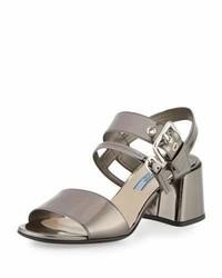 Prada Metallic 55mm Chunky Heel Sandal Anthracite