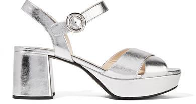 4ab05a007df0 ... Prada Metallic Leather Platform Sandals Silver ...