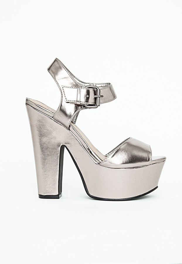 Missguided Augustina Metallic Platform Sandals | Where to buy ...