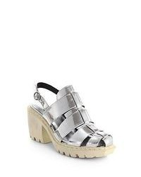 Opening Ceremony Grunge Metallic Leather Fisherman Sandals Silver